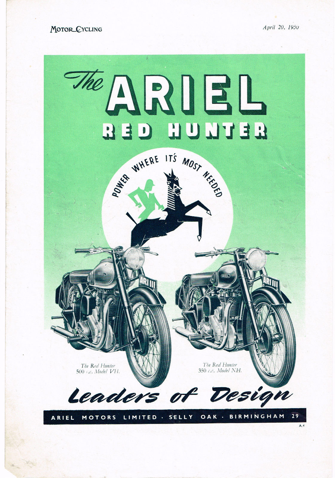 Ariel 350 Single Engine Diagram Machine T Motorcycle Brochure Showing The New 1000cc Sq4 1939 Of On Ohv Models Valve Gear Was Lubricated Via A Thin External Tube Td Off Oil Return Pipe Which Gave Low Pressure Feed To Avoid Over Oiling